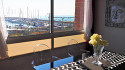dining table, sea view
