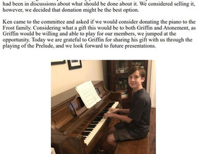Griffin Frost Piano Performance for ALC