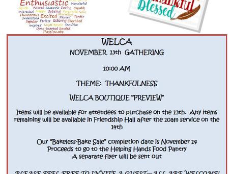 WELCA Nov. 13, 2021 Gathering!