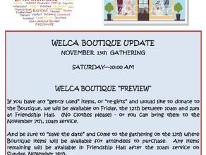 WELCA Boutique Update Nov. 13, 2021 Gathering!