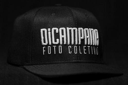 Cap DiCampana, aba reta, preto com branco