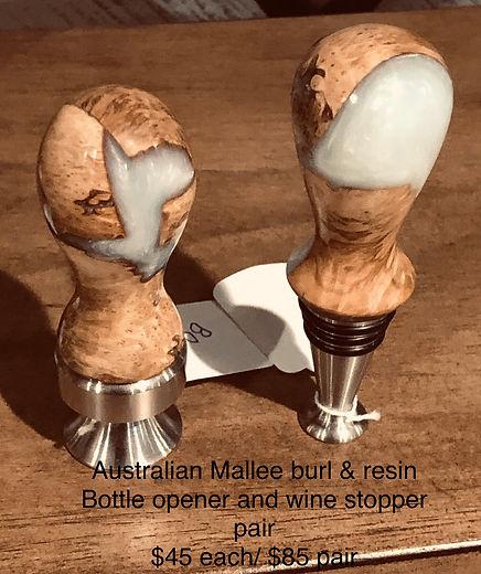 Australian Malle burl wine stopper and B