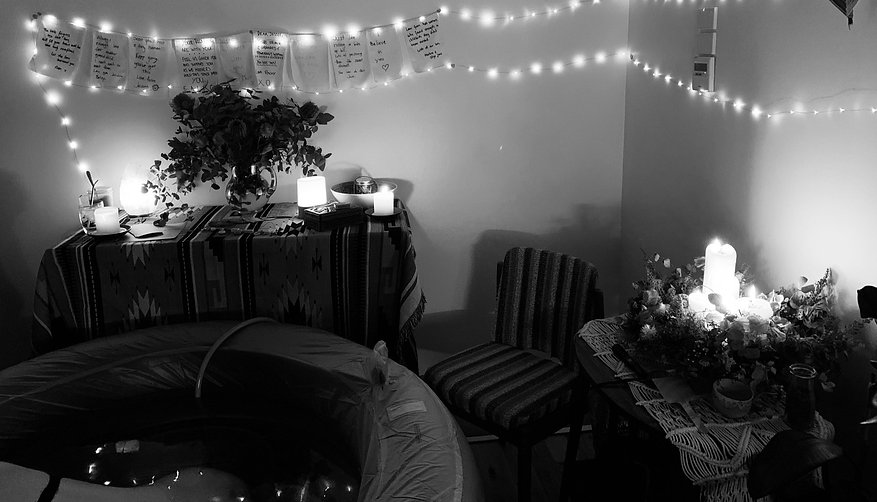 Homebirth birth space with birth pool and fairy lights