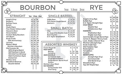 Fluid Whiskey Menu Front
