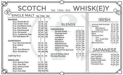 Fluid Whiskey Menu Back