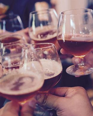 beer glasses meeting in Cheers