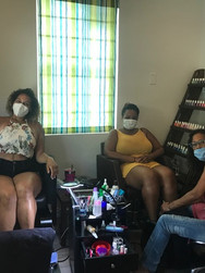 Friends share pedicure time safely