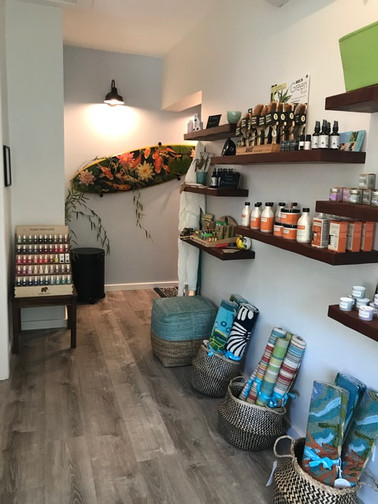 Retail products as you enter the salon