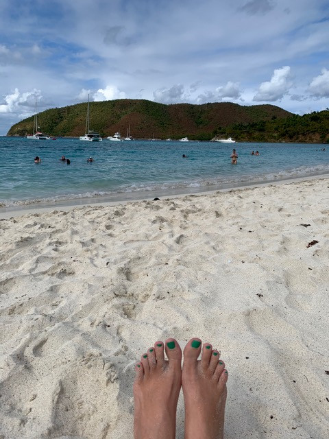 Pedicure toes on the beach