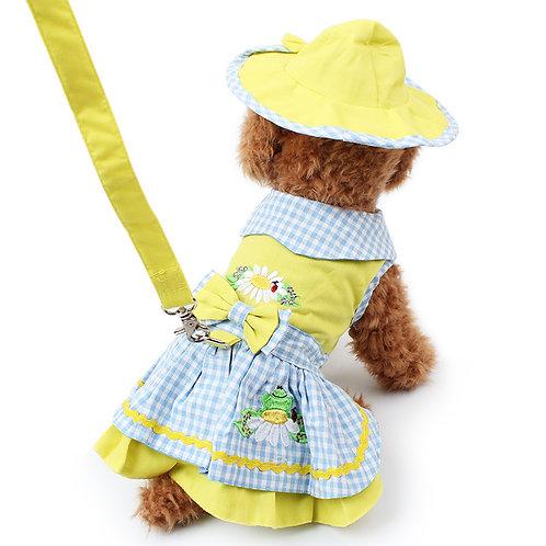 Conjunto vestido + sombrero + correa amarillo