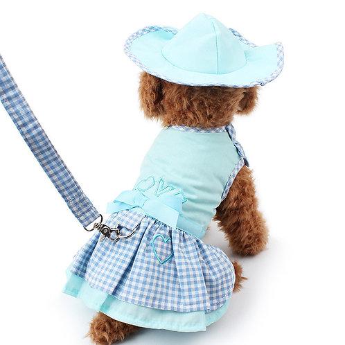 Conjunto vestido + sombrero + correa azul