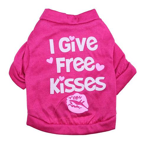 "Playera ""Free Kisses"", color fuchsia"