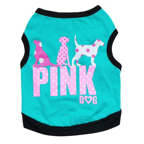 """Playera """"Pink Dog"""" turquesa"""