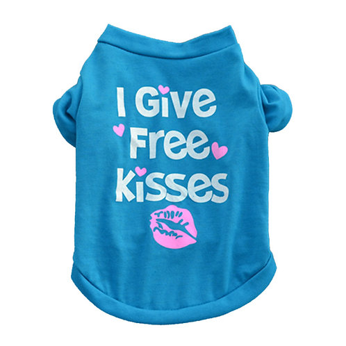 """Playera """"Free Kisses"""", color azul"""