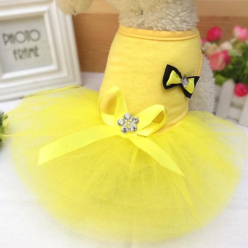 Vestido de fiesta, yellow