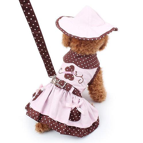 Conjunto vestido + sombrero + correa café