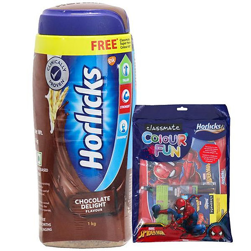 Horlicks Chocolate Delight Jar 1kg + Free Classmate Super Hero Colour Kit