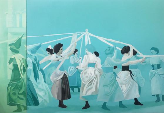 Dancing Ladies, oil on canvas, 150 x 215 cm