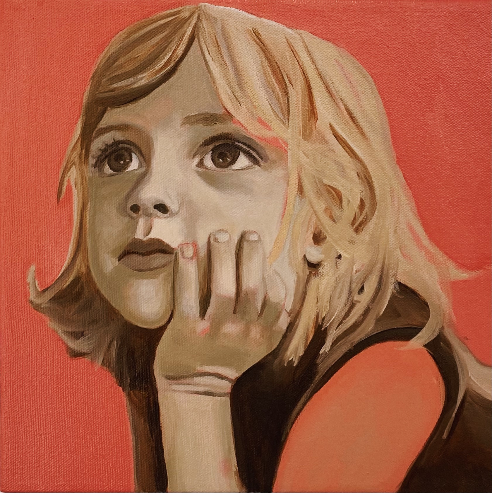Penny for your thoughts, oil on canvas, 25 x 25 cm