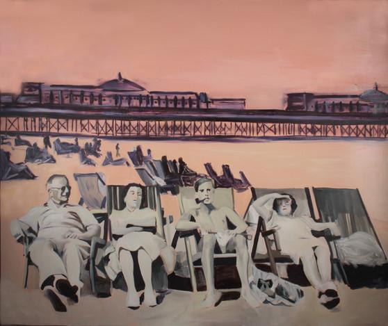 Deckchair, oil on canvas, 150 x 180 cm