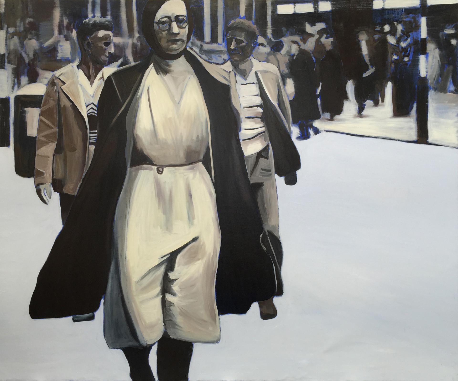 Pedestrian, oil on canvas, 150 x 180 cm
