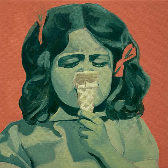 Ice cream, oil on canvas, 25 x 25 cm