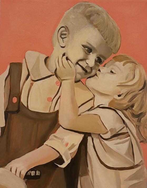 Siblings, oil on canvas, 36 x 28 cm