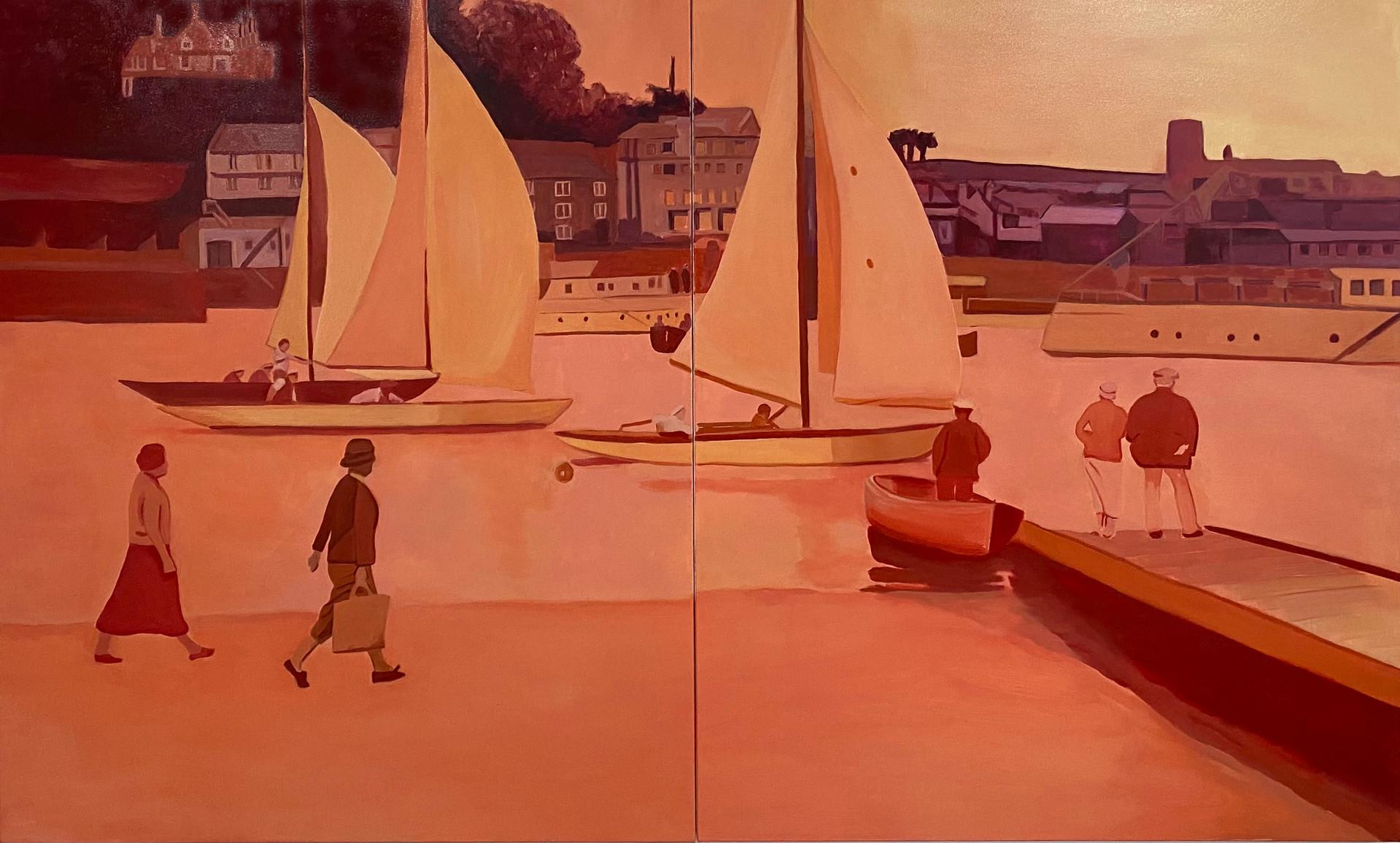 Commute, oil on canvas, 110 x 180 cm