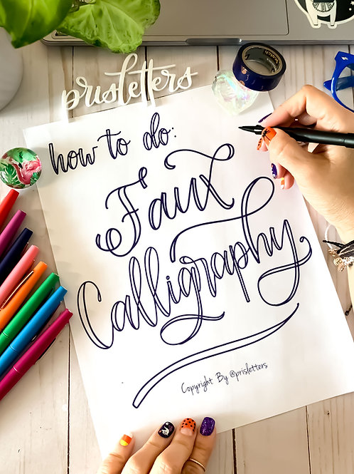 Faux-Calligraphy practice worksheets