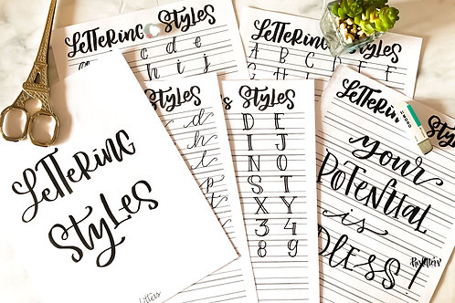 Lettering Styles Worksheets