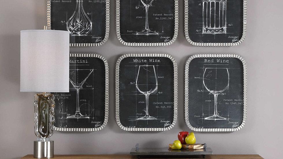 Barware Blueprints Framed Prints S/6