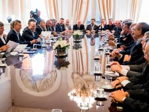 El presidente Mauricio Macri en se reunió en Casa Rosada con la Mesa de Ganados y Carnes.