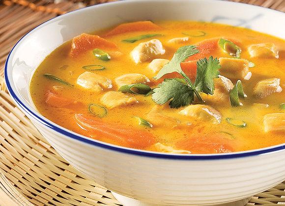 Soupe curry au poulet coco