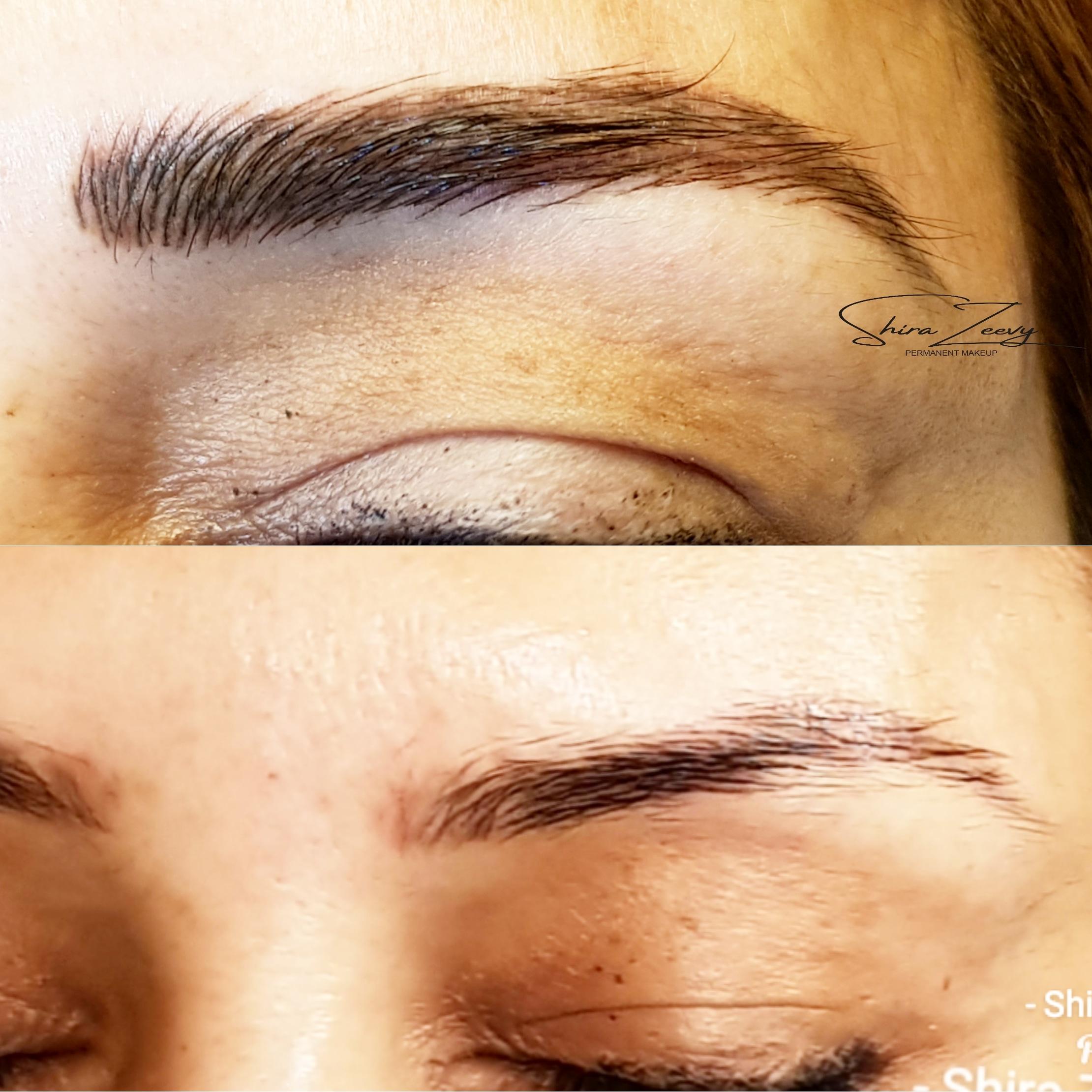איפור קבוע שערה משולב הצללת פודרה