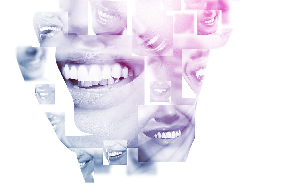 Double exposure of laughing people with