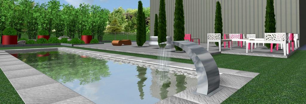 Projet piscine avec lame d'eau