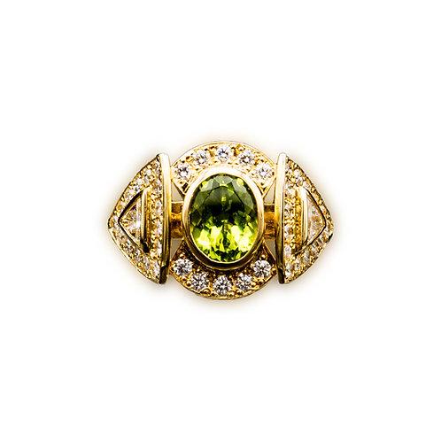 Peridot mit Trilliant Brillant Ring