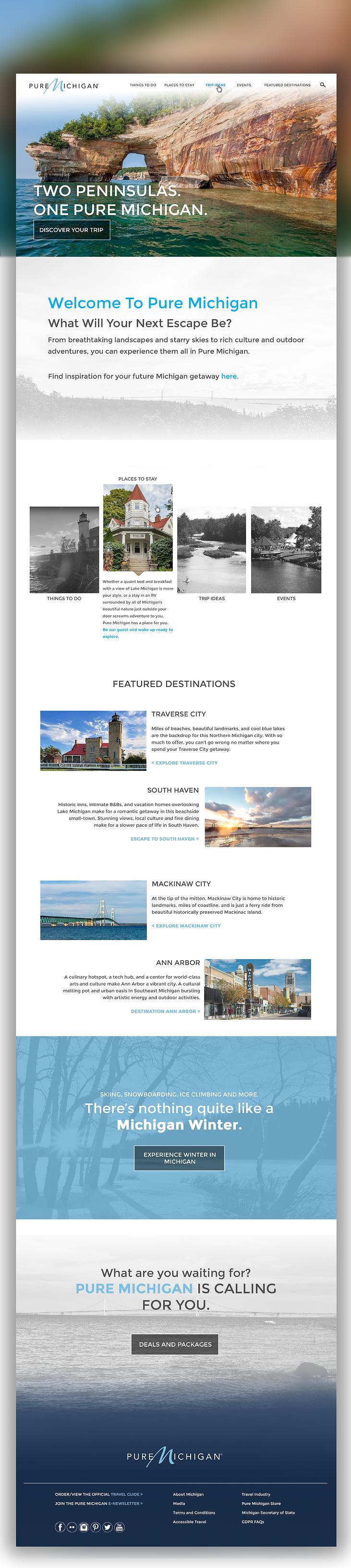 Pure Michigan Website Redesign Concept