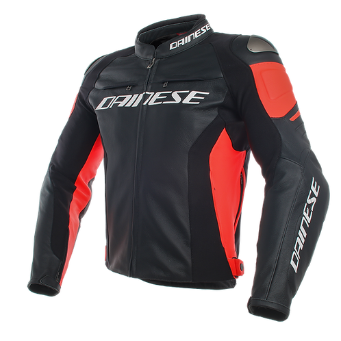 CHAMARRA DAINESE RACING 3 LEATHER RED FLUO