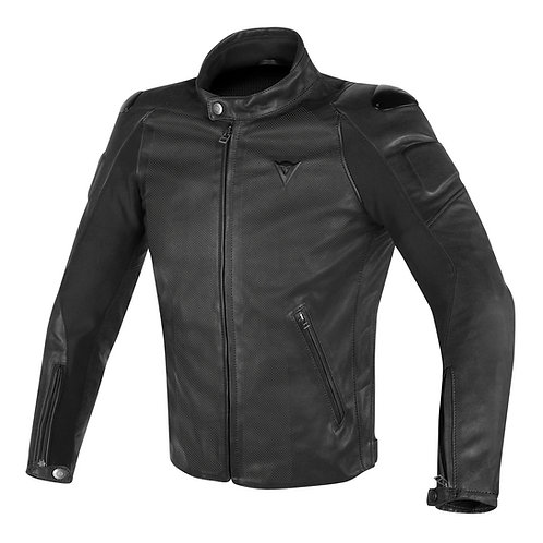 CHAMARRA DAINESE STREET DARKER LEATHER BLACK
