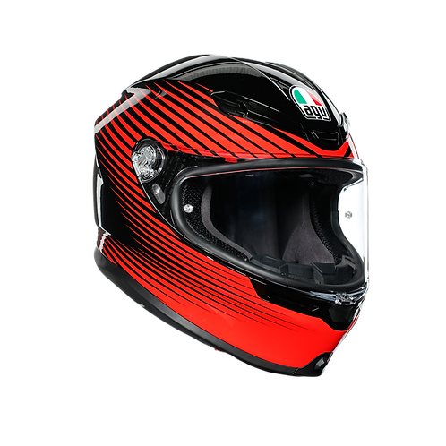 CASCO AGV K-6 RUSH BLACK RED