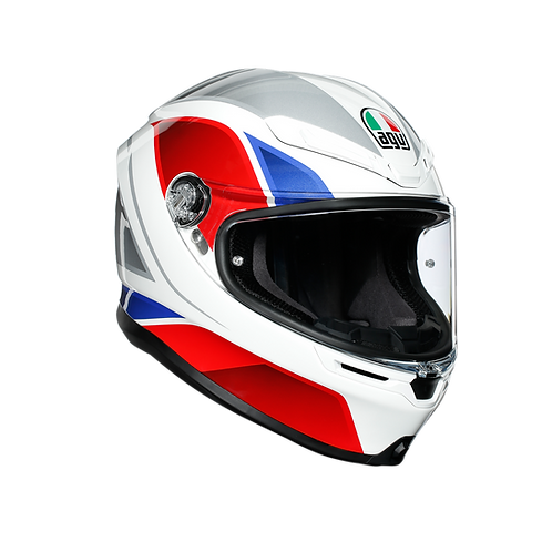 CASCO AGV K-6 HYPHEN WHITE BLUE RED