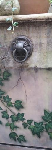 Schildering waterbassin patio