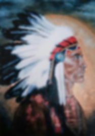 Native american indian acryl art by Dutch artist Cicilia Postma