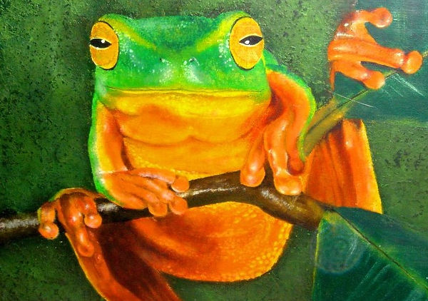 Tree frog, acrylic art by Cicilia Postma