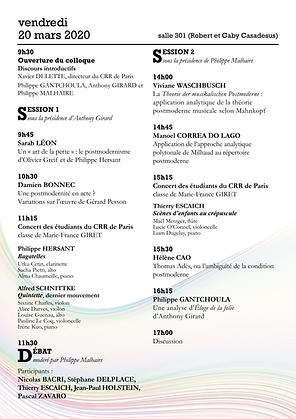 Colloque postmodernié musicale 20 mars 2020