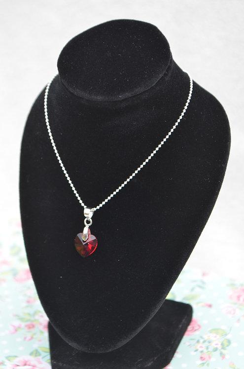 SW65 Siam Swarovski Crystal Heart Necklace,10mm