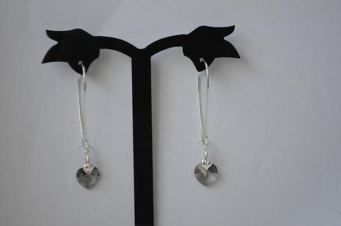 SW45 Black Diamond Swarovski Heart earrings,10mm