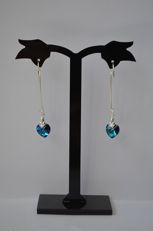 SW25 Bermuda Blue Swarovski  Heart earrings,10mm