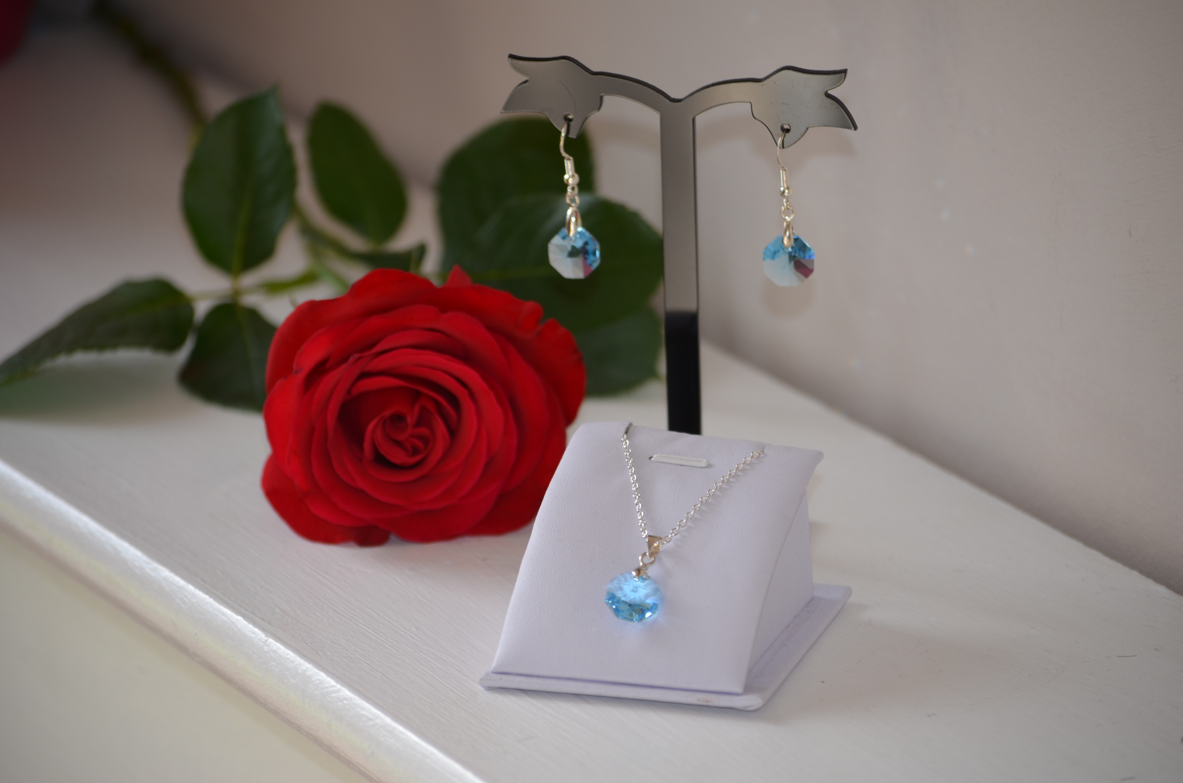 Octagon Necklace and Earring set